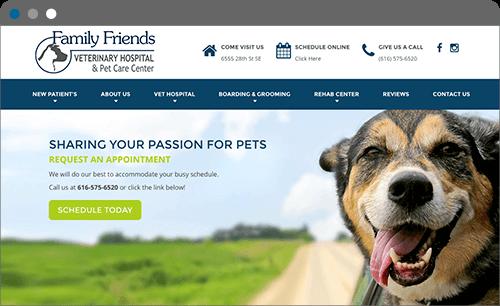 Family Friends Vet Website Screenshot